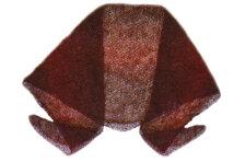Ullsjal i 1-trådigt rödmelerat garn